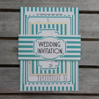 Vintage Stripes Blue - Wedding Invitations / Stationery