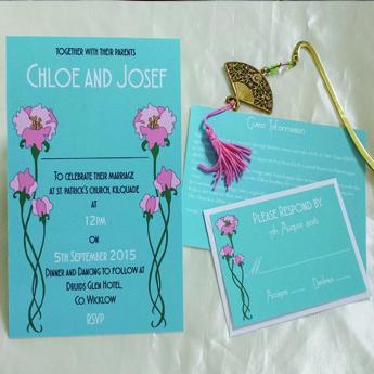 Art Nouveau Blue Pink Flowers - Wedding Invitations