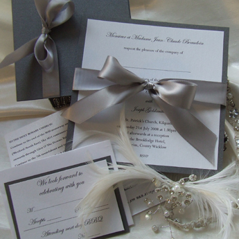 Satin Touch Charcoal - Wedding Invitations