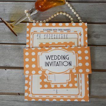 Vintage Spots Orange Wedding Invitations / Stationery