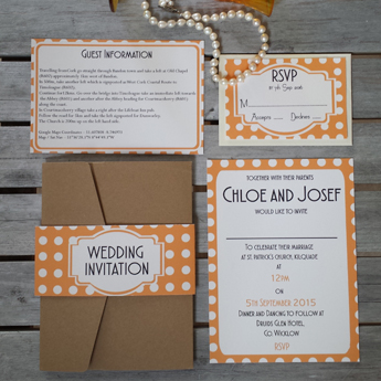 Vintage Spots Orange Wedding Invitations / Stationery