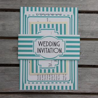 Vintage Stripes Blue - Wedding Invitations / Stationery