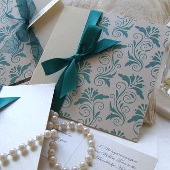 Aqua Floral - Wedding Invitations