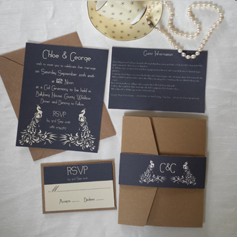 Two Peacocks - Wedding Invitations