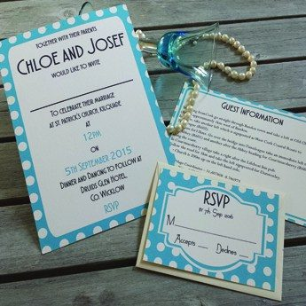 Vintage Spots Blue - Wedding Invitations